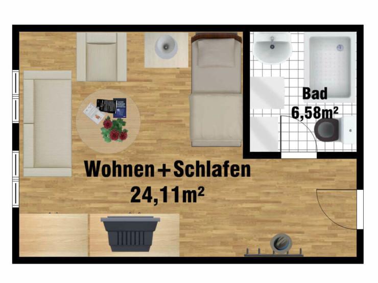 Grundriss Seniorenwohngemeinschaft Einzelzimmer für 1 Person