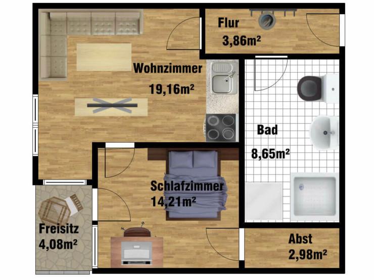 Grundriss Pflegewohnung für 1 Person in der Uferstraße