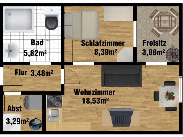 Grundriss Seniorenwohnung für 1 Person in der Uferstraße