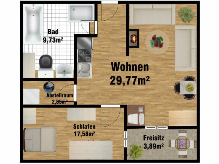 Grundriss Pflegewohnung für 2 Personen in der Uferstraße