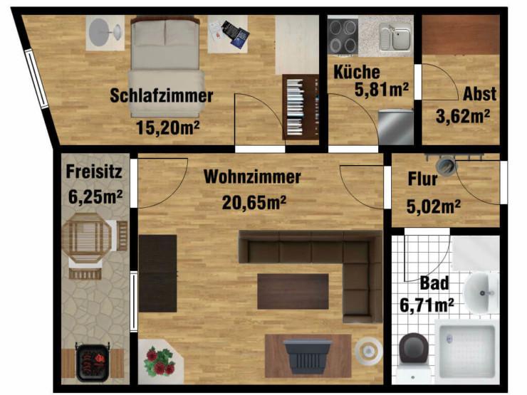 Grundriss Seniorenwohnung für 2 Personen in der Uferstraße