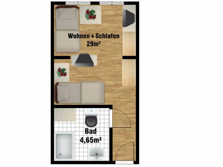 Grundriss Doppelzimmer Pflegeheim in Wüsten